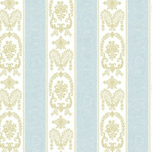 BM61312 Wallquest Wallcovering Balmoral Classic Moire Stripe Wallpaper White Blue