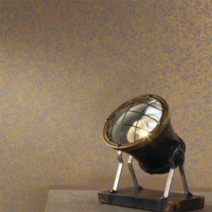 RRD7473 York Wallcovering Ronald Redding Industrial Interiors 2 Curio Wallpaper Gold Room Setting