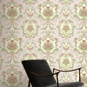 BM60001 Wallquest Wallcovering Balmoral Floral Cameo Wallpaper Pink Room Setting