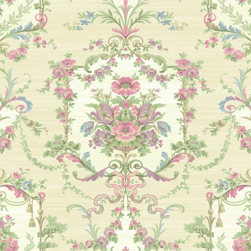 BM60003 Wallquest Wallcovering Balmoral Floral Cameo Wallpaper Neutral