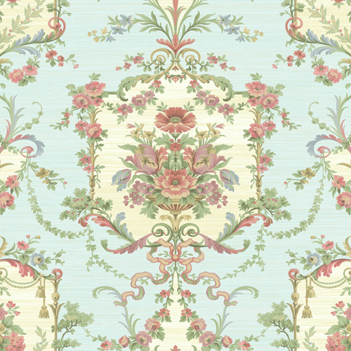 BM60012 Wallquest Wallcovering Balmoral Floral Cameo Wallpaper Blue
