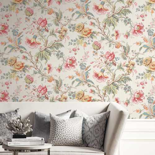 BM60407 Wallquest Wallcovering Balmoral Classical Jacobean Wallpaper Cream Room Setting