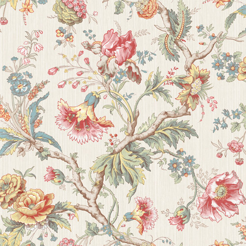 BM60407 Wallquest Wallcovering Balmoral Classical Jacobean Wallpaper Cream