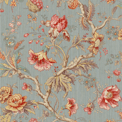 BM60412 Wallquest Wallcovering Balmoral Classical Jacobean Wallpaper Dusty Blue