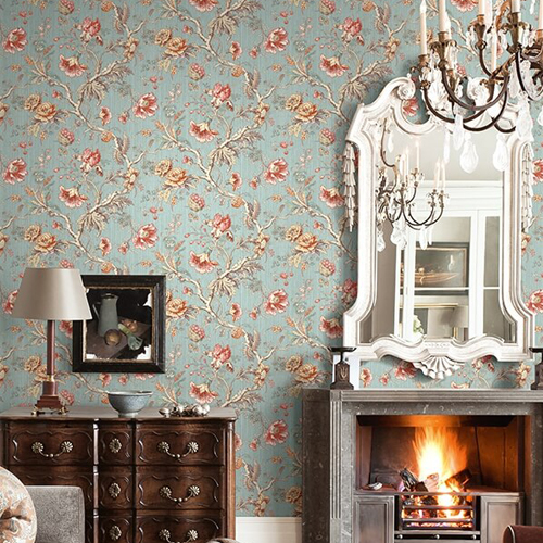 BM60412 Wallquest Wallcovering Balmoral Classical Jacobean Wallpaper Dusty Blue Room Setting
