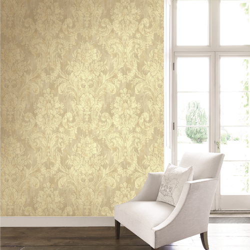 BM60909 Wallquest Wallcovering Balmoral Classical Bouquet Damask Wallpaper Gold and Taupe Room Setting