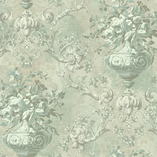 BM61002 Wallquest Wallcovering Balmoral Antiqued Framed Bouquet Wallpaper Tarnished Green