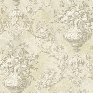 BM61005 Wallquest Wallcovering Balmoral Antiqued Framed Bouquet Wallpaper Neutral