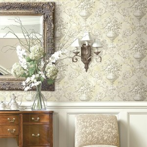 BM61005 Wallquest Wallcovering Balmoral Antiqued Framed Bouquet Wallpaper Room Setting