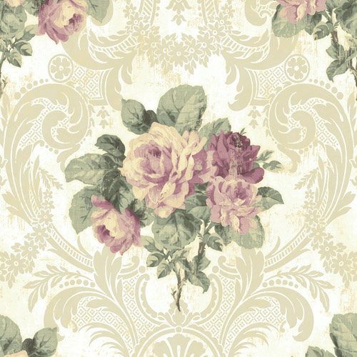 BM61109 Wallquest Wallcovering Balmoral Full Bloom Damask Wallpaper Purple