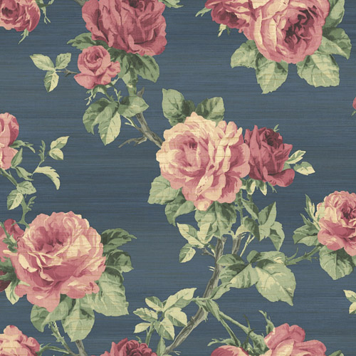 BM61202 Wallquest Wallcovering Balmoral Classical Rose Trail Wallpaper Navy