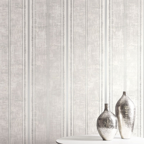 1730808 Seabrook Wallcovering Etten Gallerie Mercury Classic Faux Stripe Wallpaper Room Setting
