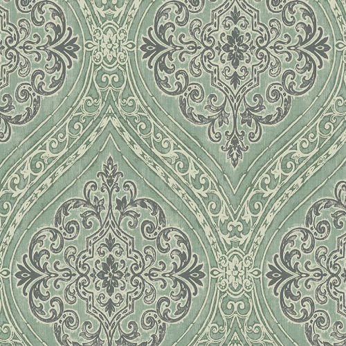 1731304 Seabrook Wallcovering Etten Gallerie Mercy Damask Wallpaper Green