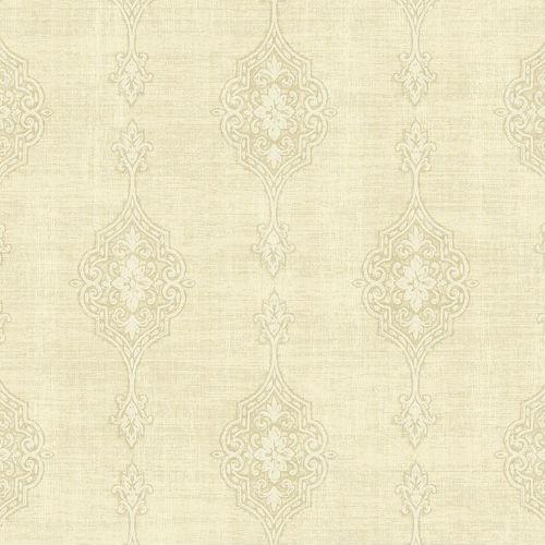 1731407 Seabrook Wallcovering Etten Gallerie Mercury Medallion Striped Wallpaper Off-White