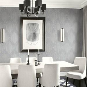 1732108 Seabrook Wallcovering Etten Gallerie Mercury Ogee Frame Wallpaper Grey Room Setting
