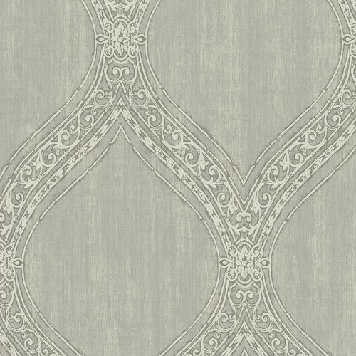 1732108 Seabrook Wallcovering Etten Gallerie Mercury Ogee Frame Wallpaper Grey