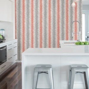 2782-24518 Brewster Wallcovering A Street Prints Habitat Quake Abstract Stripe Wallpaper Coral Room Setting
