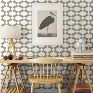 2782-24540 Brewster Wallcovering A Street Prints Habitat Emilio Retro Wallpaper Grey Room Setting