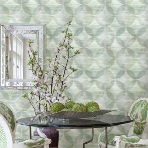 2793-24700 Brewster Wallcovering A Street Prints Celadon Alchemy Geometric Wallpaper Room Setting