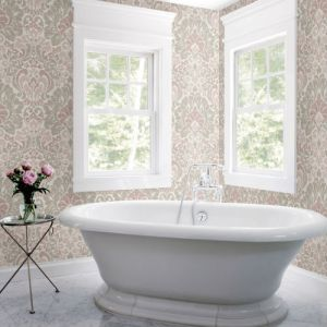 2793-24734 Brewster Wallcovering A Street Prints Celadon Garden of Eden Damask Wallpaper Room Setting