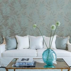 2793-87323 Brewster Wallcovering A Street Prints Celadon Chimera Flocked Leaf Wallpaper Room Setting