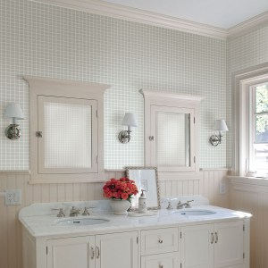 2767-23786 Brewster Wallcovering Techniques and Finishes 3 Tessellate Glass Tile Wallpaper Room Setting