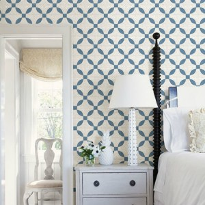 3115-12472 Brewster Wallcovering Chesapeake Farmhouse Justice Quilt Wallpaper Room Setting
