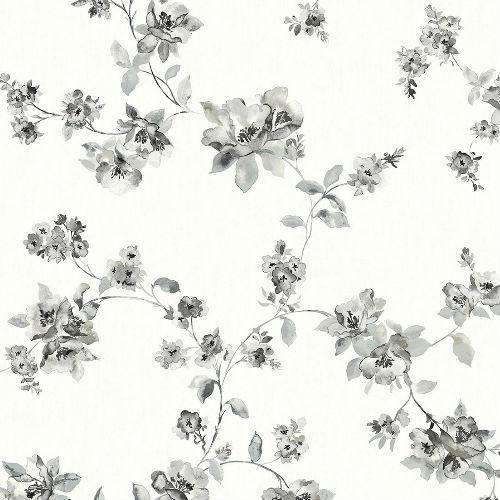 3115-24482 Brewster Wallcovering Chespeake Farmhouse Cyrus Floral Wallpaper Black