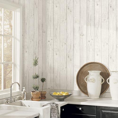 CK36615 Patton Wallcoverings Creative Kitchens Barn Board Wallpaper Room Setting