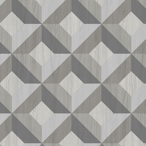 CK36617 Patton Wallcoverings Creative Kitchens Dimensional Diamond Inlay Wallpaper Grey