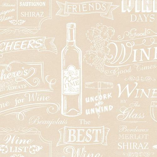 CK36632 Patton Wallcoverings Creative Kitchens Wine Days Wallpaper Beige