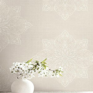 1620000 Seabrook Wallcovering Etten Gallerie Bruxelles Filigree Medallion Wallpaper Beige Room Setting