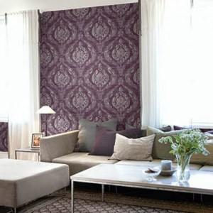 1621801 Seabrook Wallcovering Etten Gallerie Bruxelles Bruxelles Damask Wallpaper Purple Room Setting