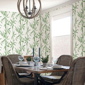 2766-003534 Brewster Wallcovering Kitchen and Bath Essentials Catasetum Bamboo Wallpaper Room Setting