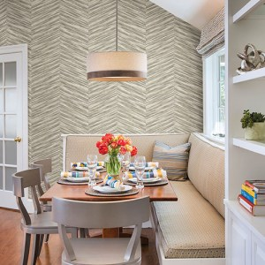 2766-23775 Brewster Wallcovering Kitchen and Bath Essentials Aldie Chevron Weave Wallpaper Room Setting