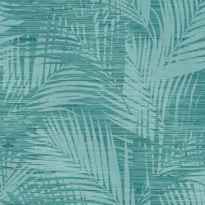 2766-24400 Brewster Wallcovering Kitchen and Bath Essentials Motmot Palm Wallpaper Turquoise