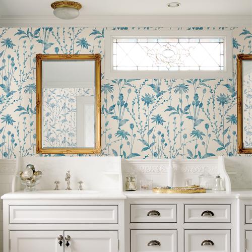 2766-24612 Brewster Wallcovering Kitchen and Bath Essentials Aeirdes Meadow Wallpaper Room Setting