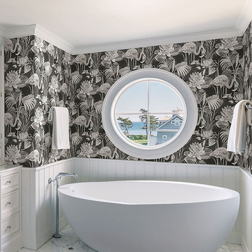 2766-24621 Brewster Wallcovering Kitchen and Bath Essentials Miltonia Flamingo Wallpaper Room Setting