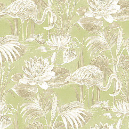 2766-24624 Brewster Wallcovering Kitchen and Bath Essentials Miltonia Flamingo Wallpaper Green