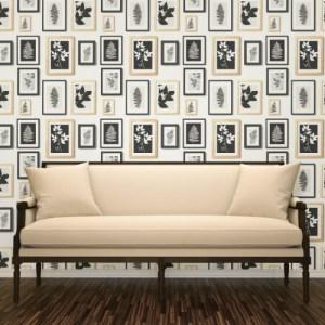 2773-937503 Brewster Wallcovering Advantage Neutral Black White Rumer Gallery Wallpaper Room Setting