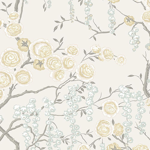 2785-24833 Brewster Wallcovering A Street Prints Sarah Richardson Signature Peony Tree Wallpaper Citrine