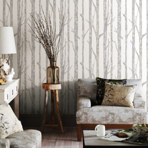2811-BLW10501 Brewster Wallcovering Advantage Nature Cameron Trees Wallpaper Room Setting
