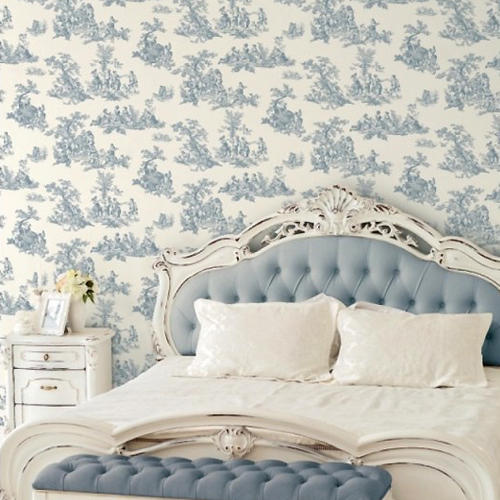 CH22510 Patton Wallcovering Norwall Manor House Cottage Living Toile Wallpaper Room Setting