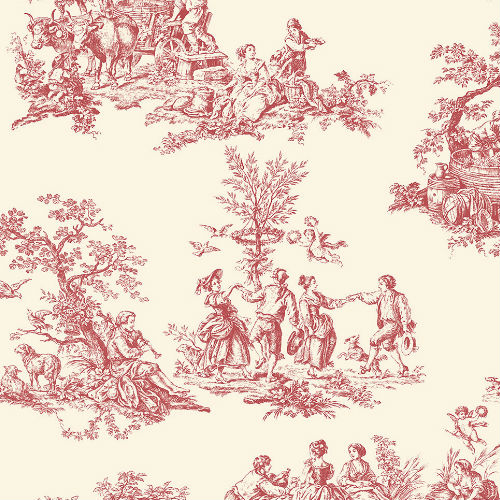 GC29851 Patton Wallcovering Norwall Manor House Cottage Living Toile Wallpaper Red