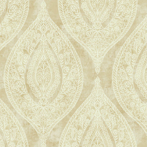 GC31107 Seabrook Wallcovering Collins and Company Monaco 2 Filigree Lace Ogee Wallpaper Tan