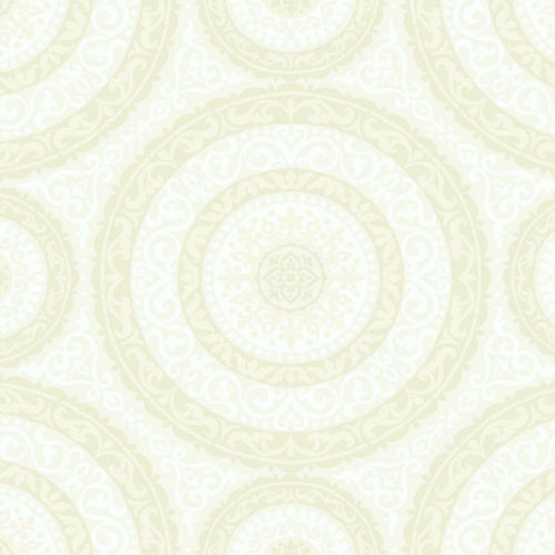 GC32105 Seabrook Wallcovering Collins and Company Monaco 2 Large Medallion Wallpaper Off-White