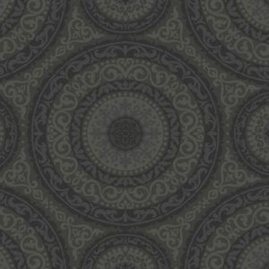 GC32107 Seabrook Wallcovering Collins and Company Monaco 2 Large Medallion Wallpaper Black