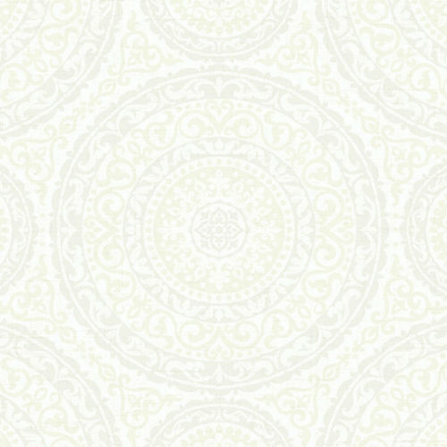 GC32108 Seabrook Wallcovering Collins and Company Monaco 2 Large Medallion Wallpaper White