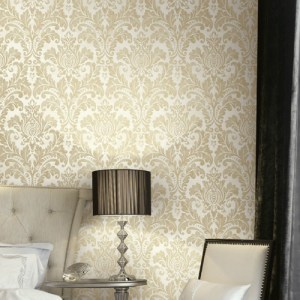 GC32705 Seabrook Wallcovering Collins and Company Monaco 2 Acanthus Damask Wallpaper Room Setting