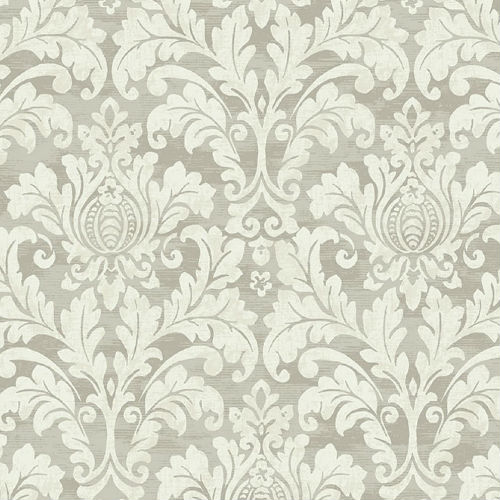 GC32711 Seabrook Wallcovering Collins and Company Monaco 2 Acanthus Damask Wallpaper Neutral